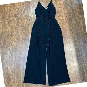 H&M black jumpsuit with tie belt size 8